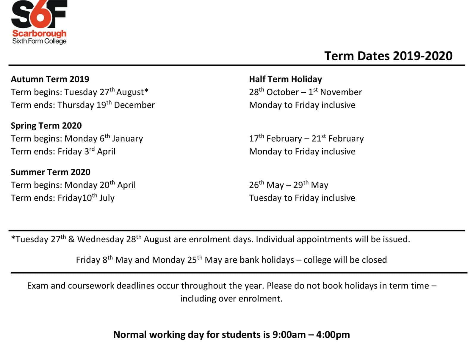 Term Dates Scarborough Sixth Form College